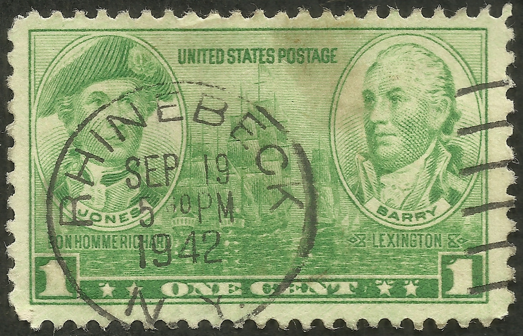 United States #790 (1936) postmarked 19 September 1942 Rhinebeck, New York