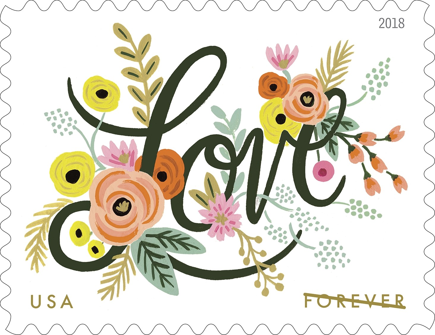 United States - 2018-01-18: Love Flourishes - (49 cent) Forever special stamp