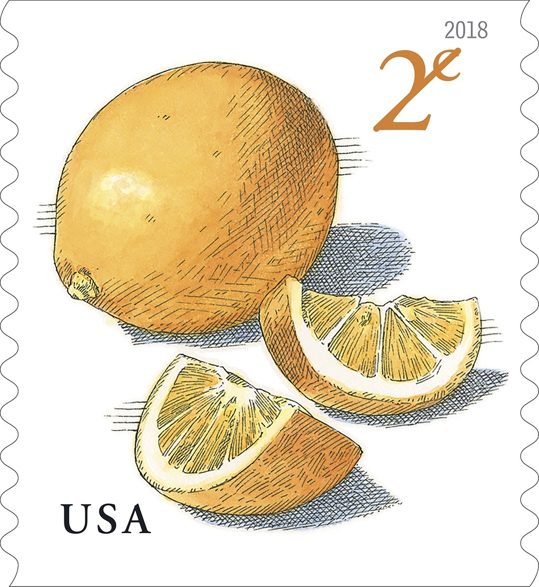 United States - 2018-01-19: Meyer Lemons - 2 cent definitive stamp