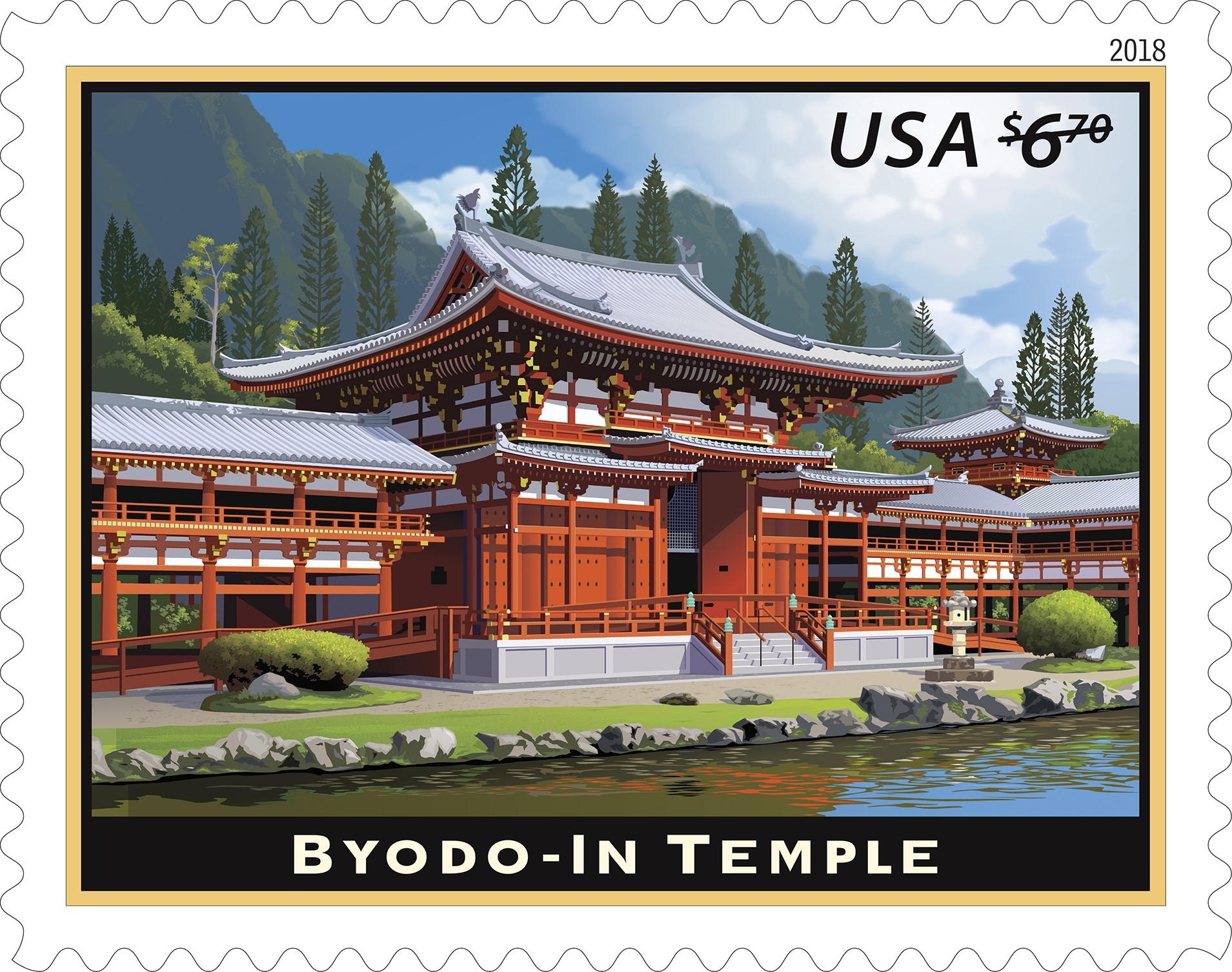 United States - 2018-01-21 Bydo-In Temple - $6.70 Priority Mail Rate stamp and stamped envelope