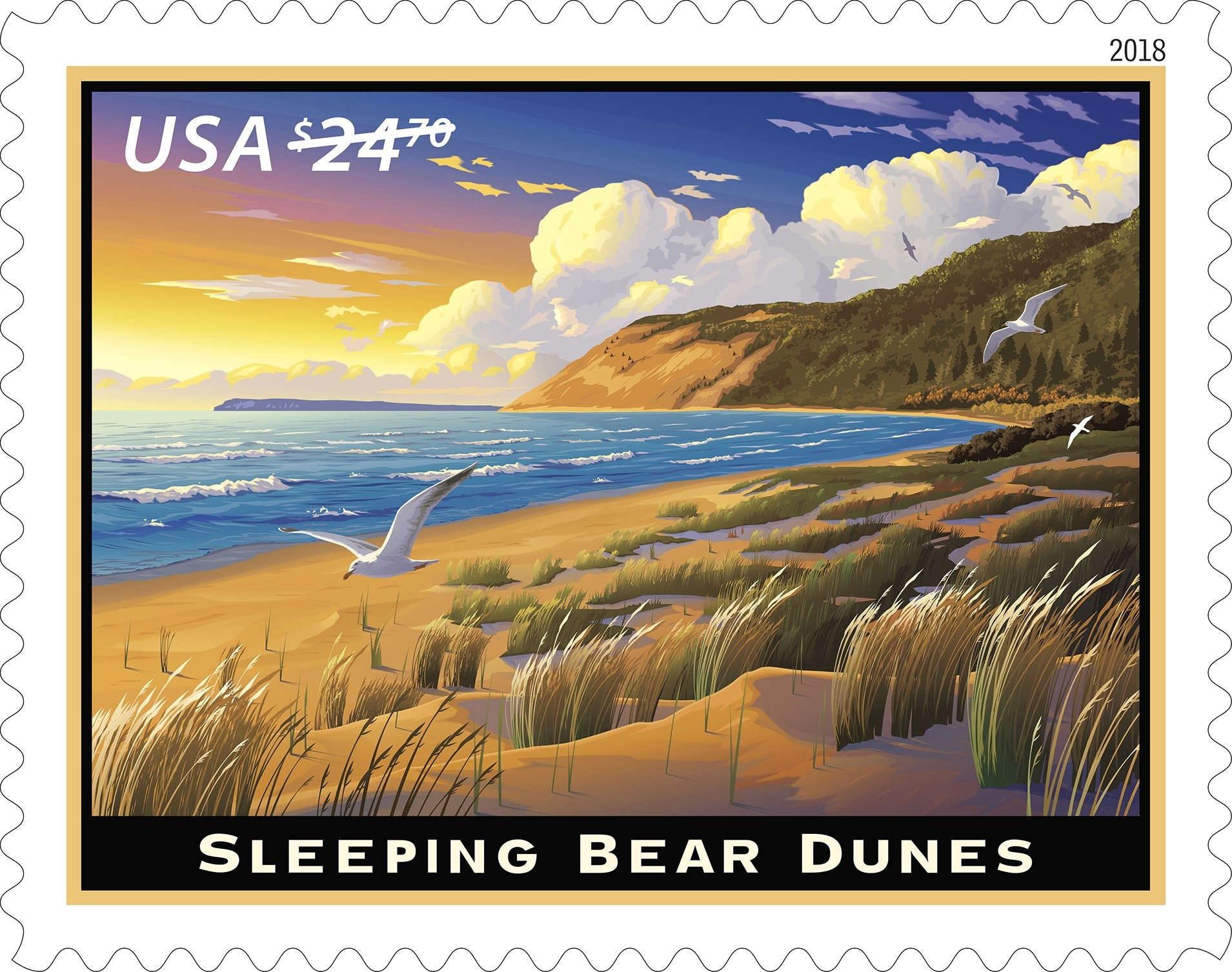 United States - 2018-01-21 Sleeping Bear Dunes - $24.70 Priority Mail Express rate stamp