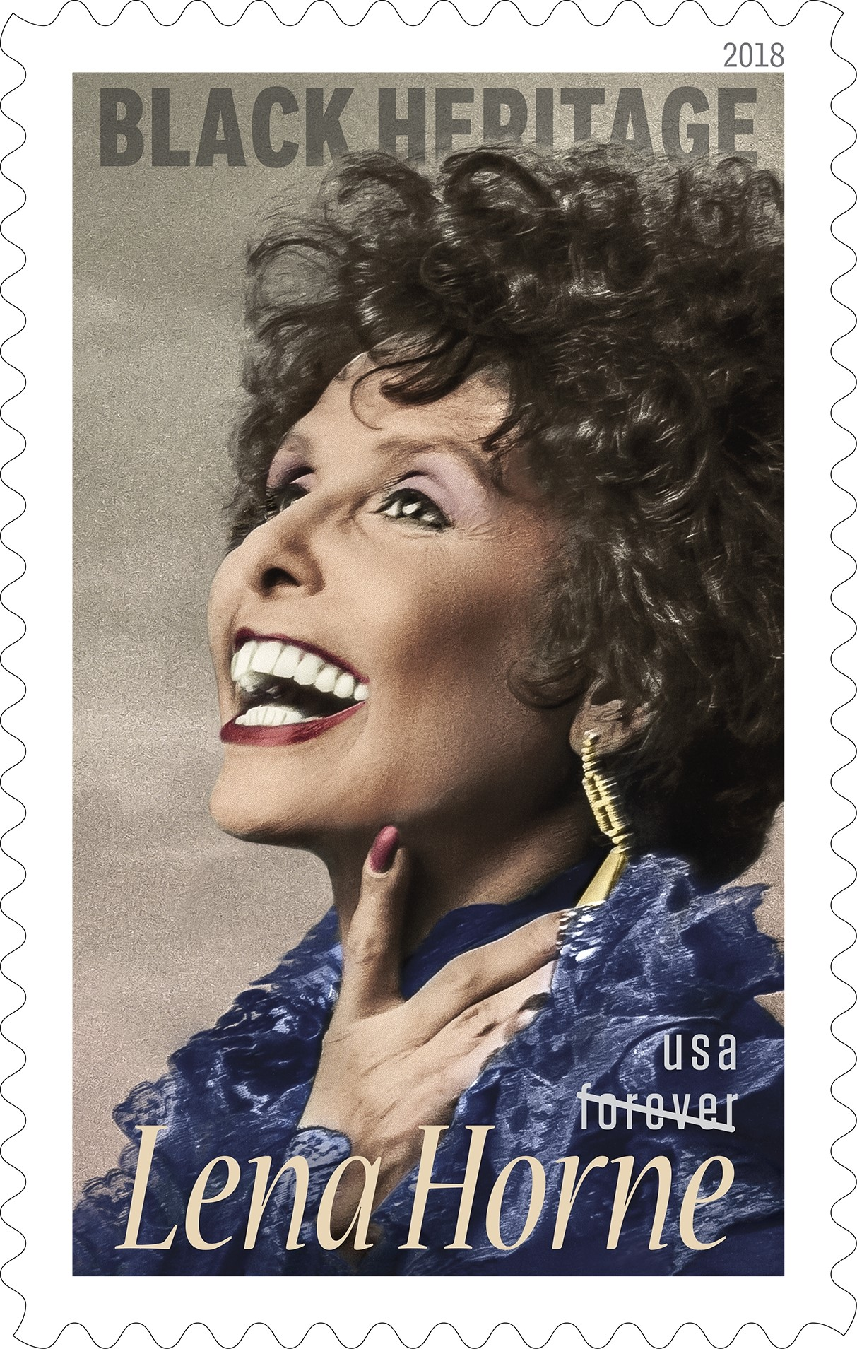 United States - January 30, 2018: Lena Horne - (50 cent) Forever commemorative stamp