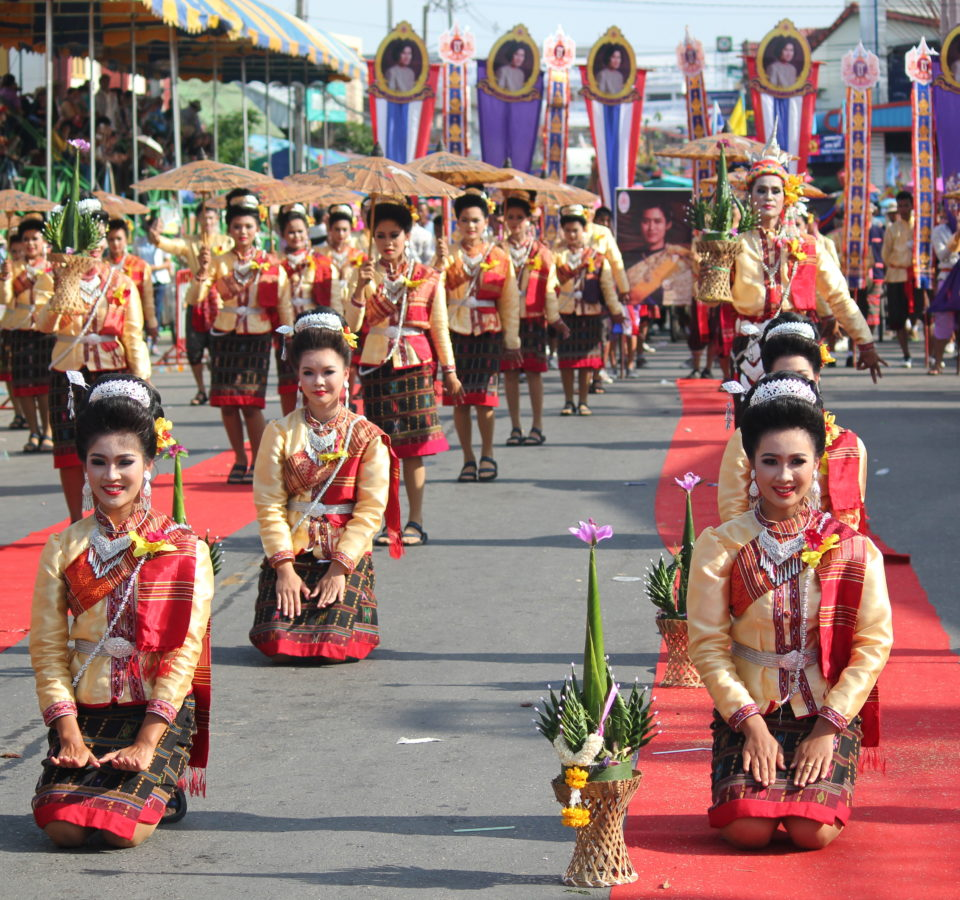 Sueng Bung Fai with traditional Isan dressing and local long drum show. Photo taken in Suwannaphum District, Roi Et, Thailand on June 6, 2015.