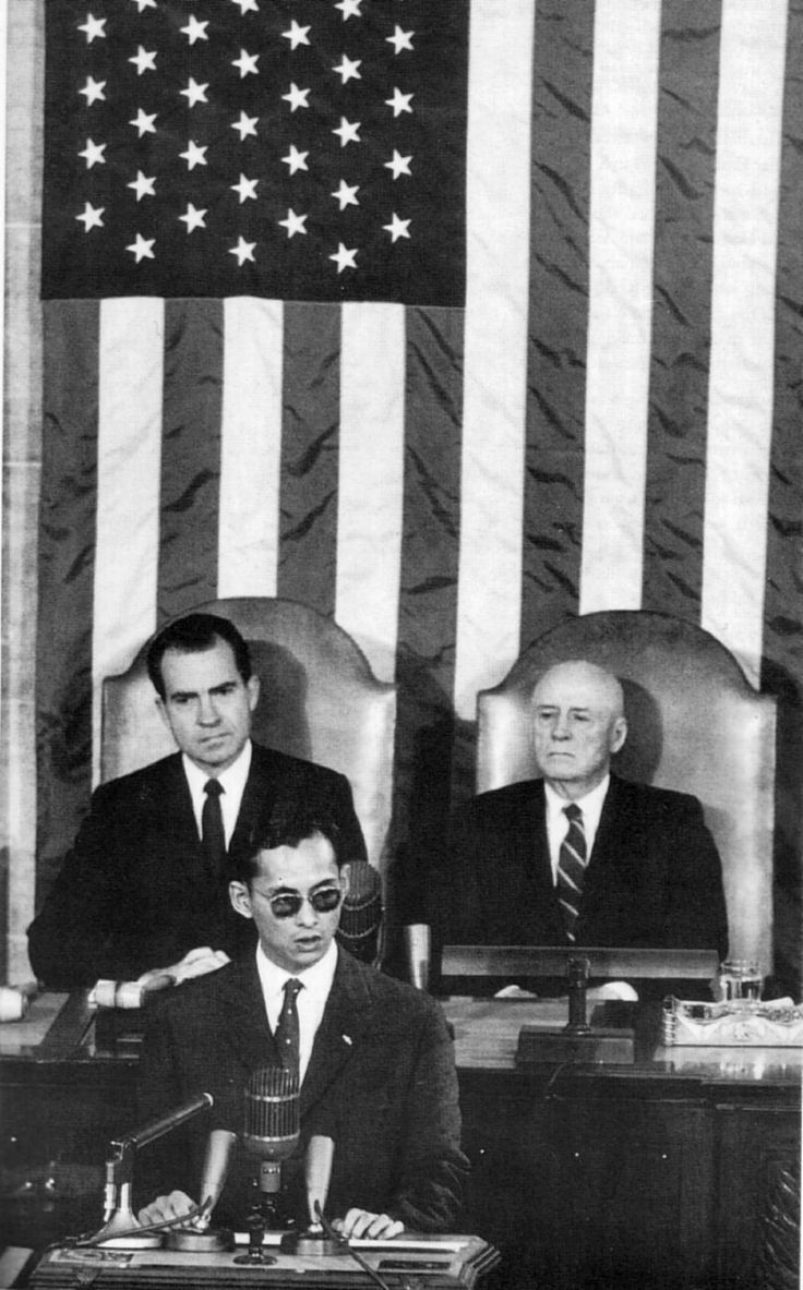 King Bhumibol Adulyadej of Thailand addresses a joint session of the United States Congress.