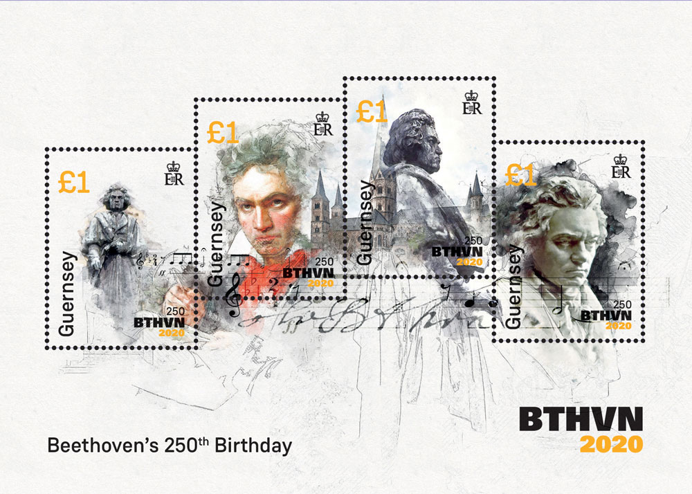 250th birthday Special stamp miniature sheet Portugal Beethoven 2020